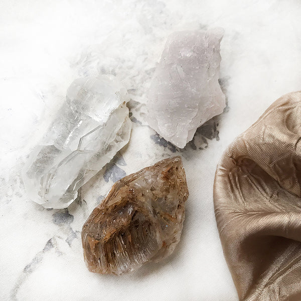 Crystal tribe of three: Faden Quartz, Nirvana Quartz & Fenster Quartz