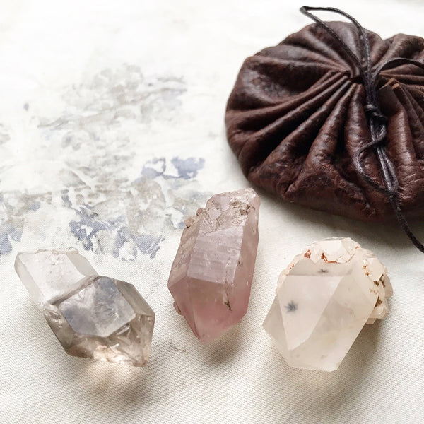 Crystal tribe of three: Brandberg Smokey Quartz, Lithium Quartz & Star Hollandite Quartz
