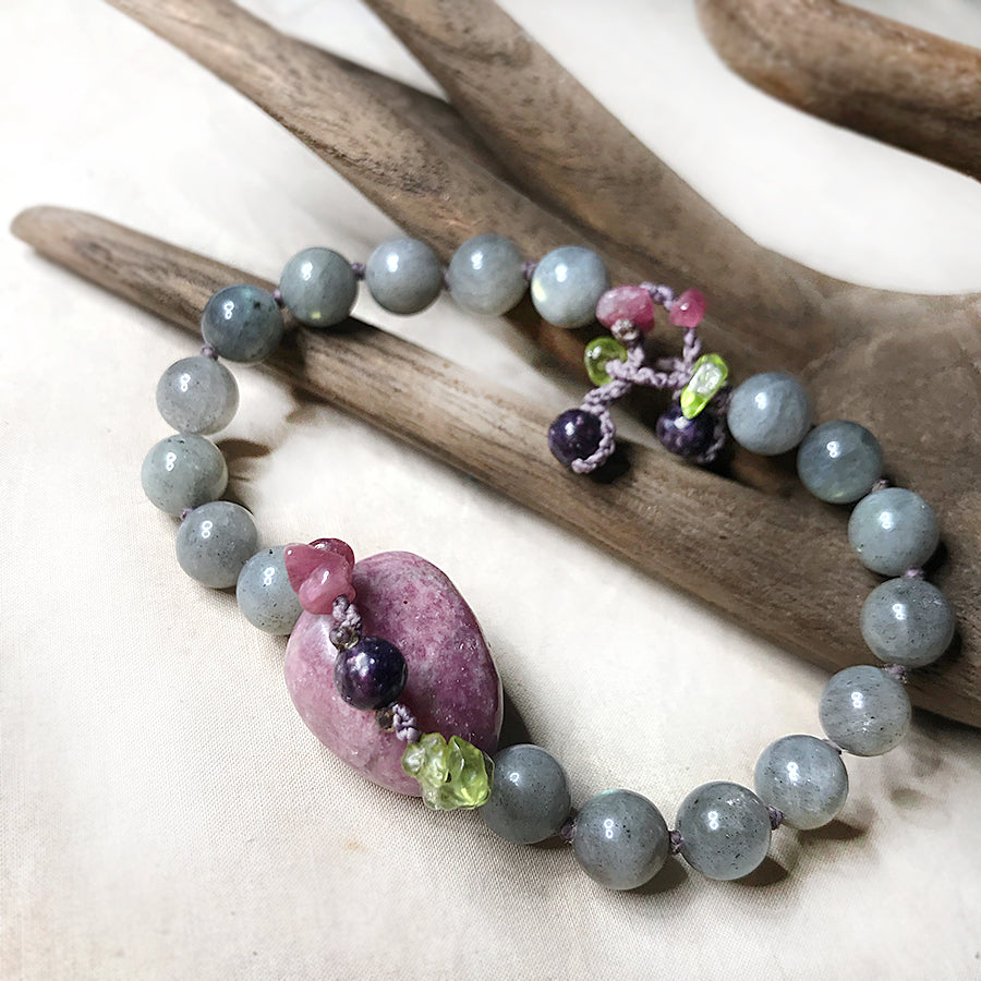 Mala bracelet with Labradorite, Lepidolite, Rubellite & Peridot ~ for up to 7