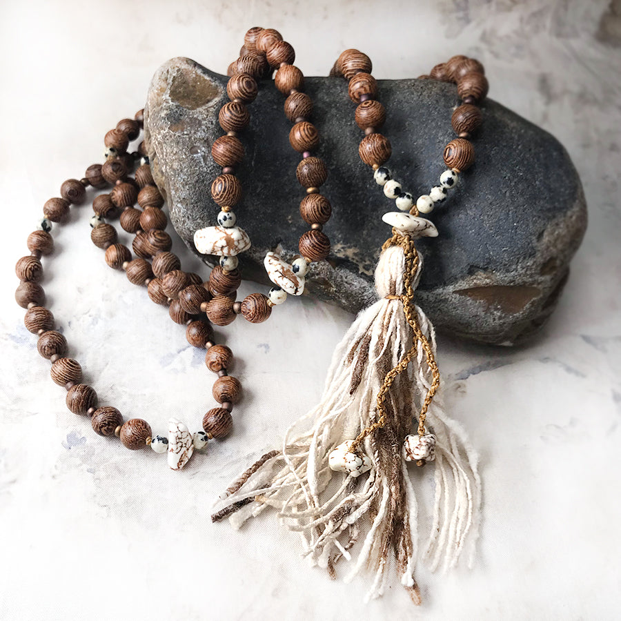 Zebrawood meditation mala with peace silk tassel