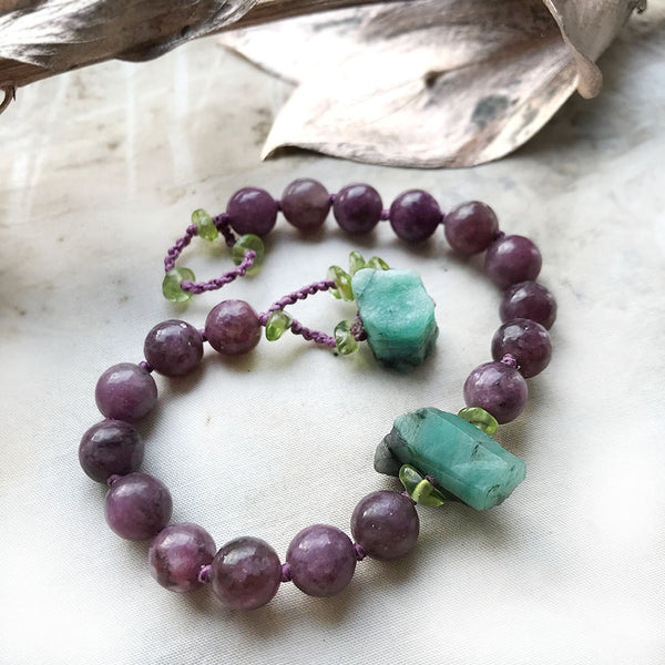 Lepidolite mala bracelet ~ for wrist size up to 7.5""
