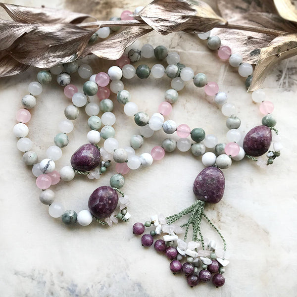 Full meditation mala with Lepidolite, Rose Quartz, Peace Jade, Howlite & Agate