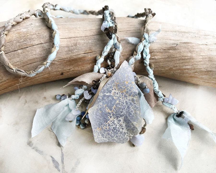 Blue Lace Agate crystal healing talisman