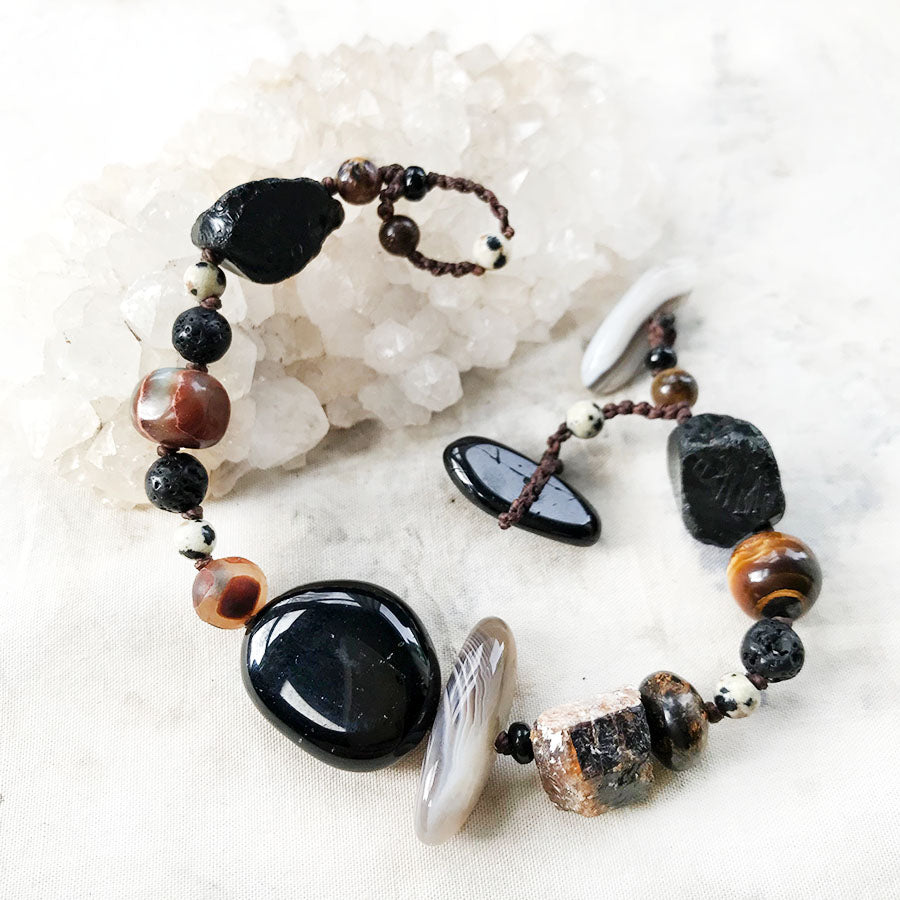 Crystal healing bracelet in dark tones ~ for wrist size up to 6.5""