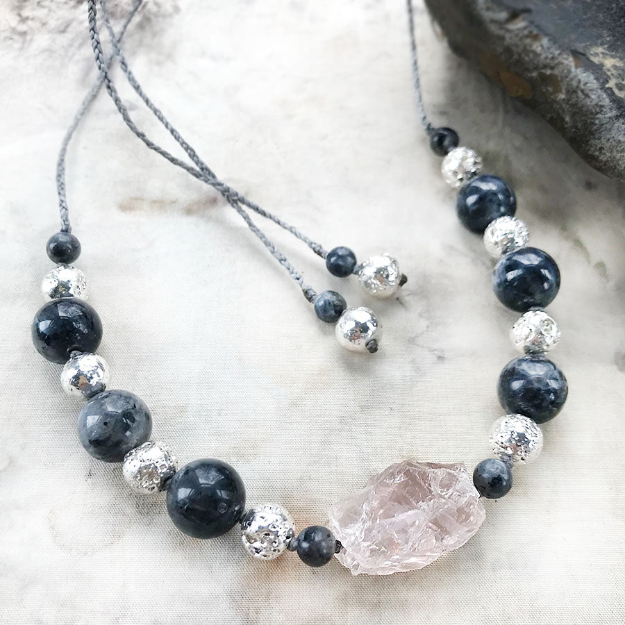 Crystal healing amulet with Ice Rose Quartz, Norwegian Moonstone & silver-plated Lava Stone