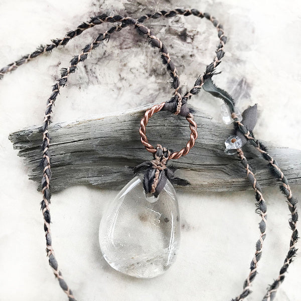 Crystal healing amulet with Sacred Cubit tensor ring