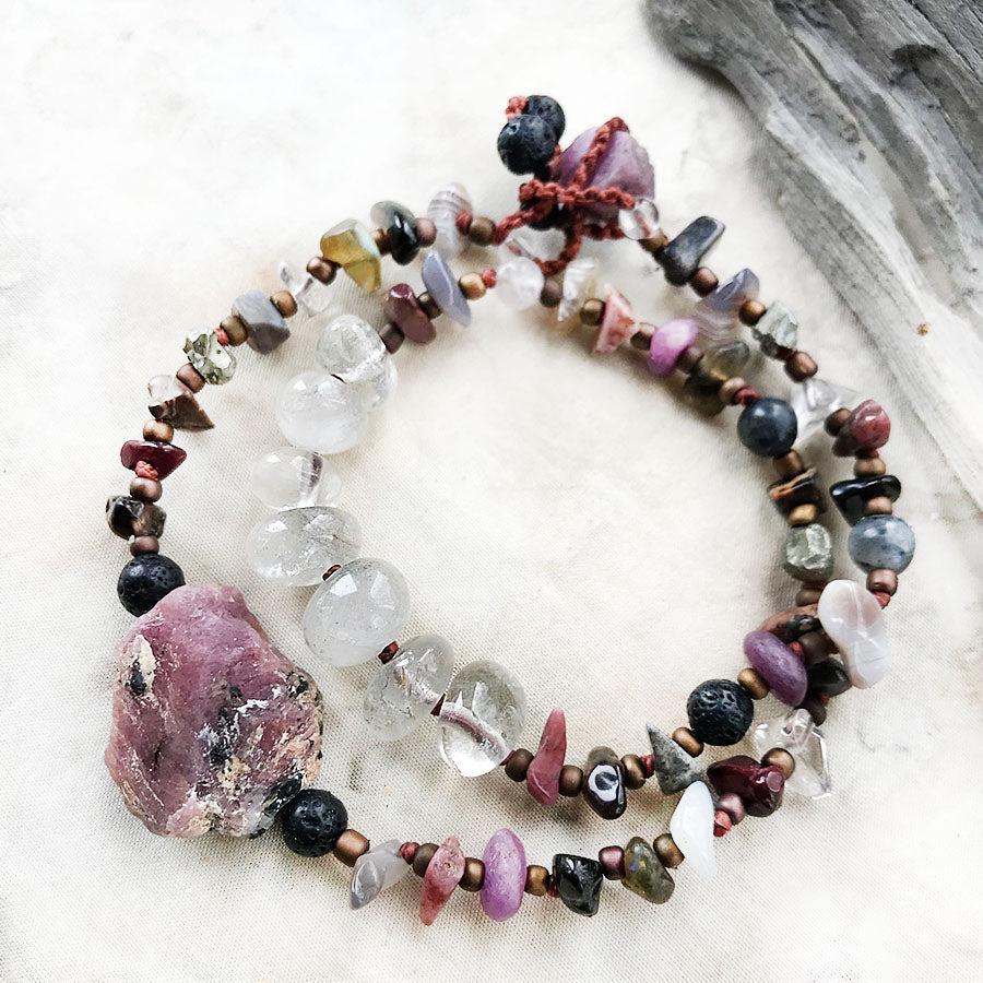 Crystal double wrap bracelet with raw Ruby ~ for wrist size up to 6.5""