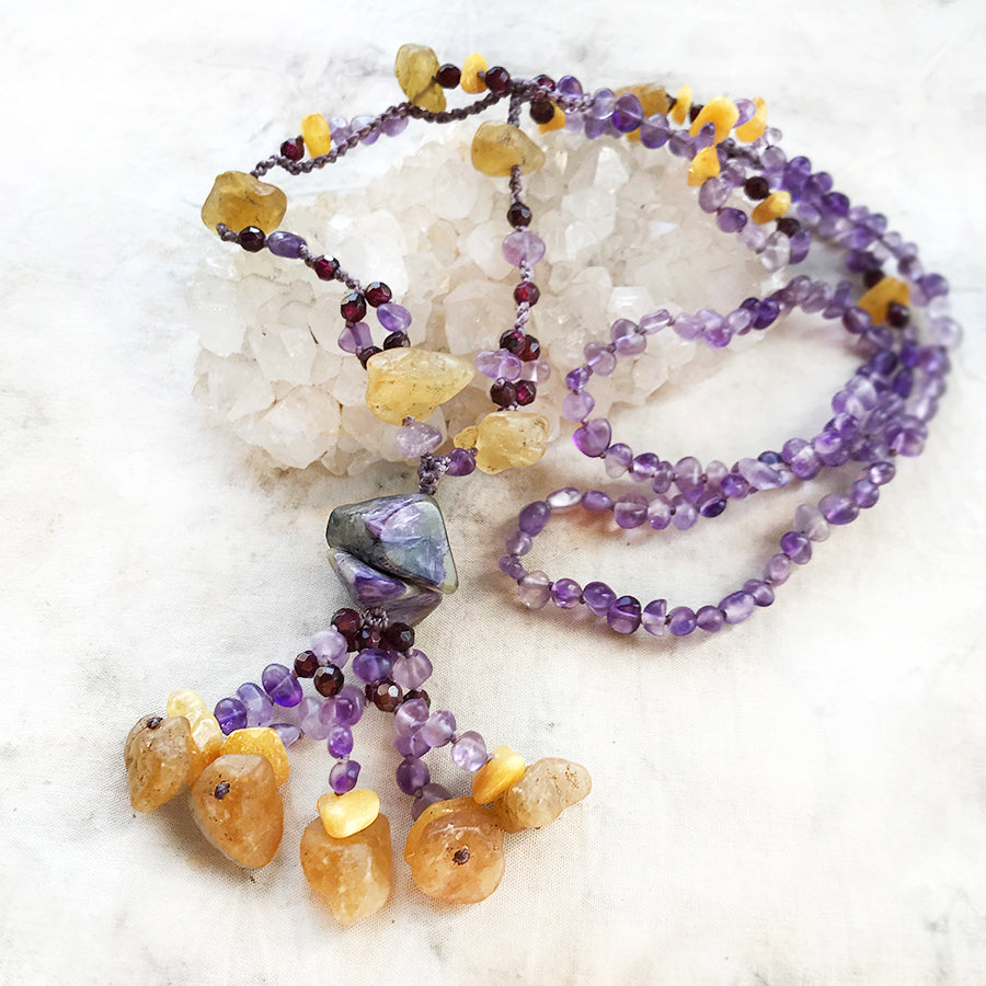 Crystal energy amulet with Amethyst, Amber, Heliodor, Garnet & Charoite