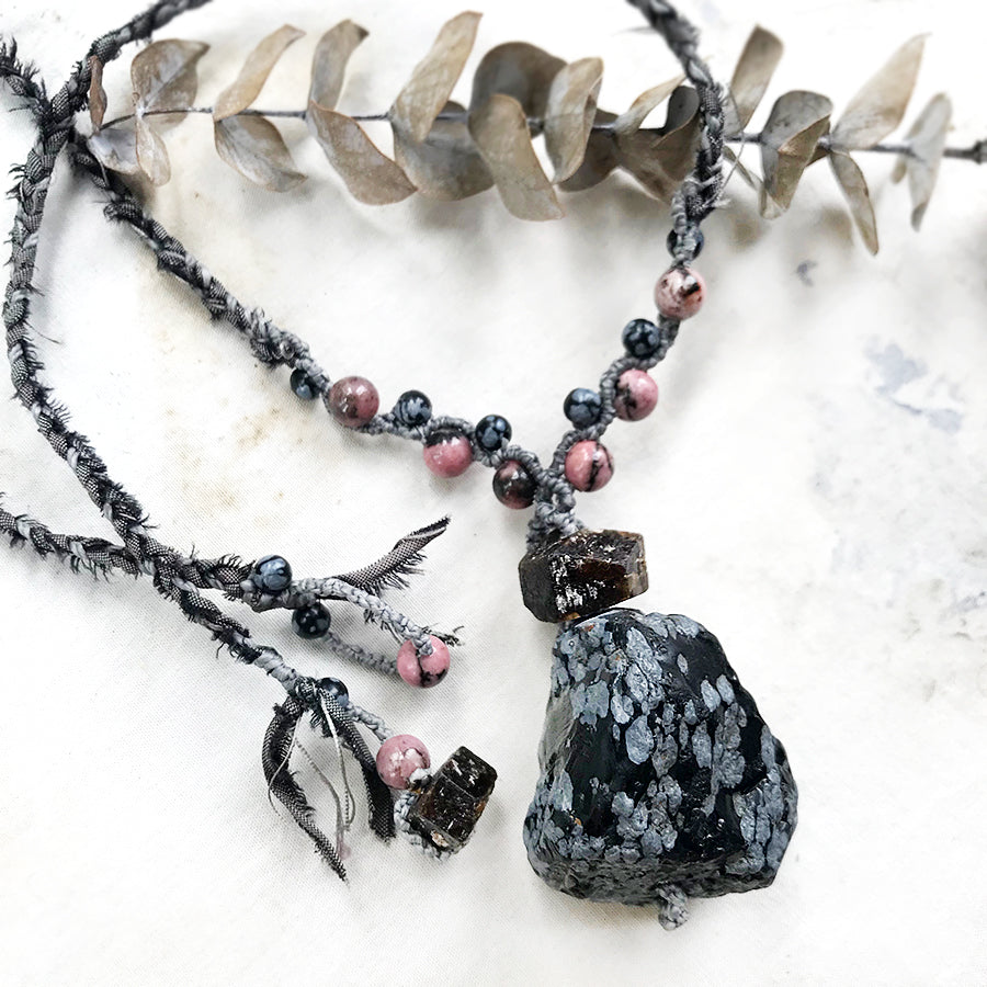 Snowflake Obsidian crystal healing amulet
