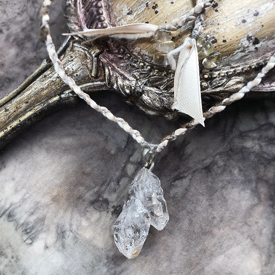 'Soul Path' crystal healing talisman with Fenster Quartz in peace silk & satin braid