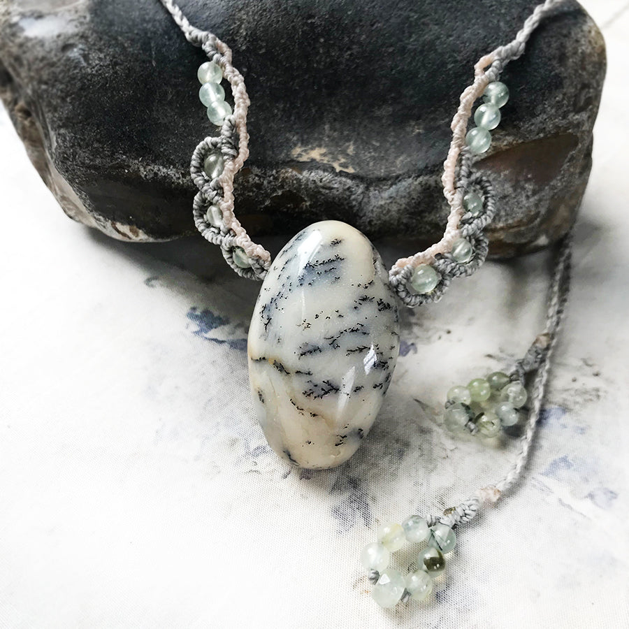 Merlinite crystal healing amulet