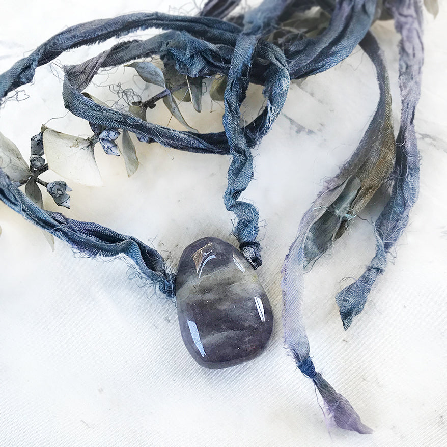 Talismanic Iolite crystal healing necklace with silk ribbon