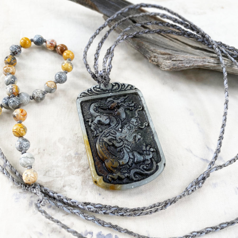 'Dragon Power' ~ carved Jade crystal healing amulet