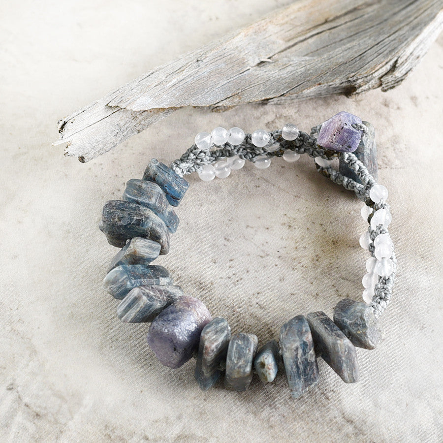 'Healing Waves' ~ crystal healing bracelet with Blue Kyanite, Sapphire & Rose Quartz, for wrist size 6.75""
