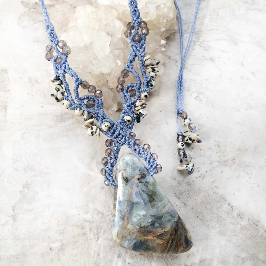 Kyanite crystal amulet with Smokey Quartz & Dalmatian Jasper