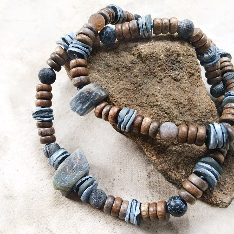 Stone talisman for men ~ with Kyanite, Agate, Abalone shell & wooden beads