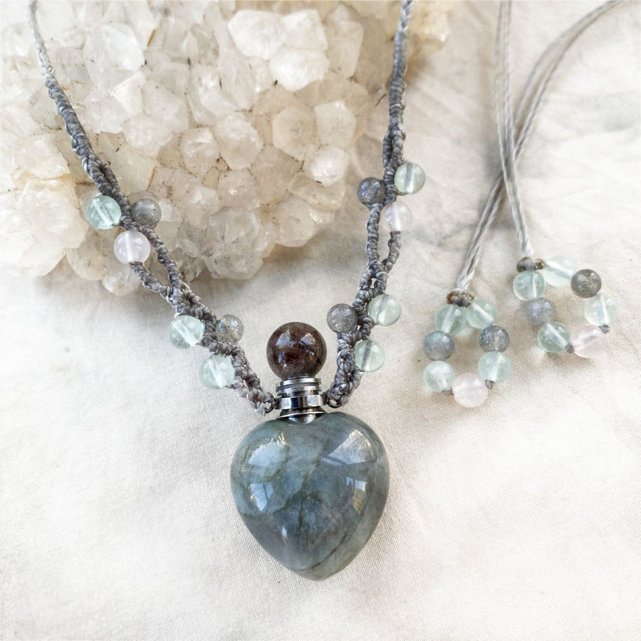 Labradorite bottle amulet ~ for essential oil of perfume