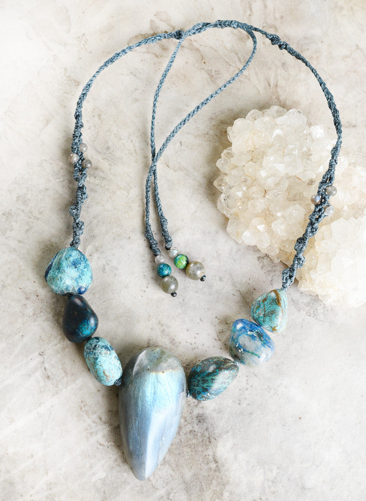 'Aurora Anchor' ~ crystal healing amulet with Labradorite & Chrysocolla
