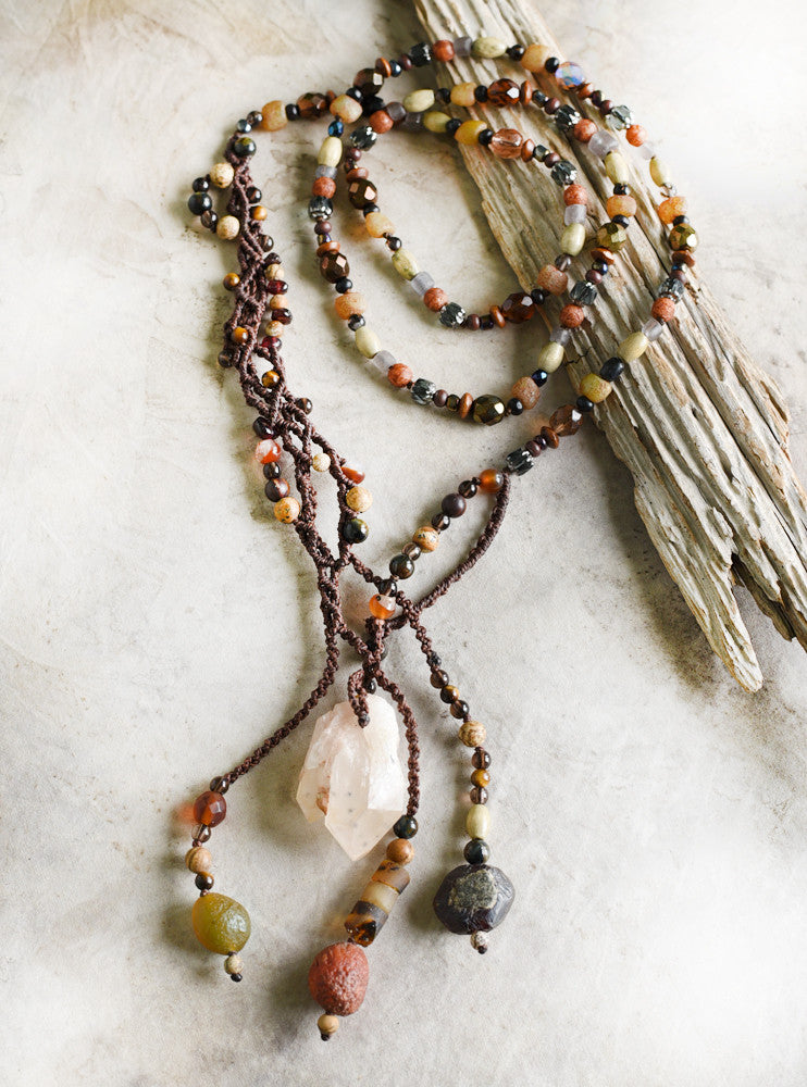 'Phoenix Incantation' ~ crystal energy talisman, lariat style necklace