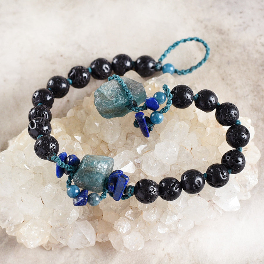 "Mala bracelet with Lava Stone, Apatite & Lapis Lazuli ~ for up to 7"" wrist"
