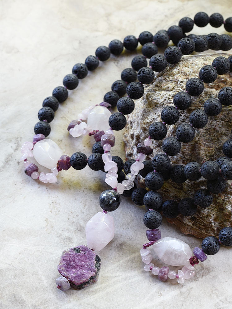 Lava stone mala with Rose Quartz & raw Ruby