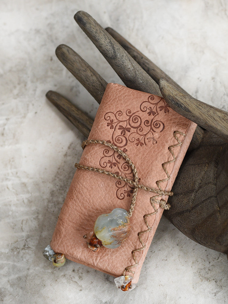 Tribal style leather roll for carrying crystal tools ~ with Aquamarine toggle