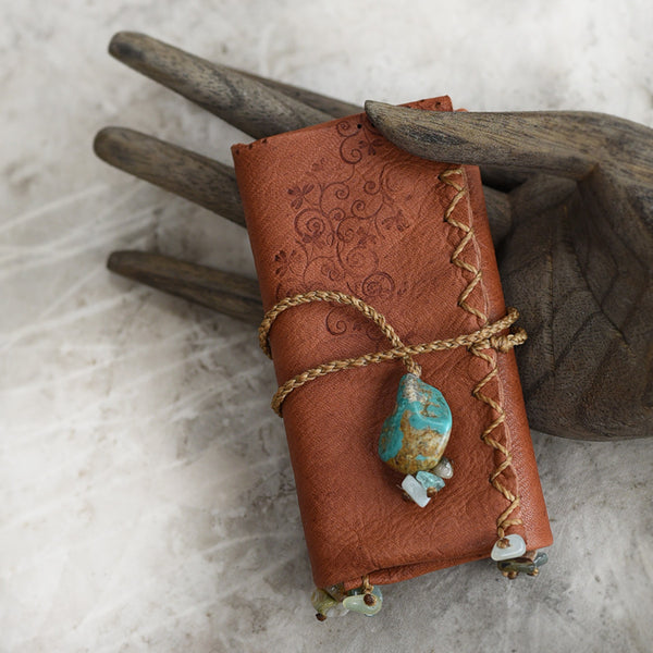 Tribal style leather roll for carrying crystal tools ~ with Turquoise toggle