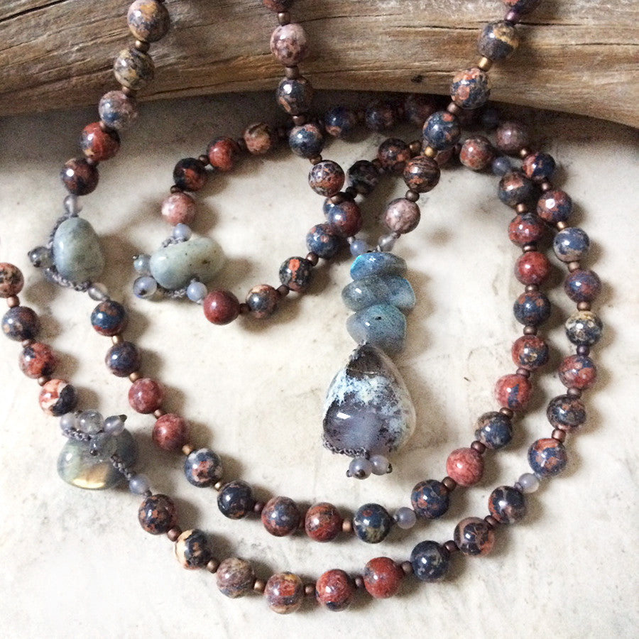 Leopardskin Jasper mala with Labradorite, Merlinite & Agate