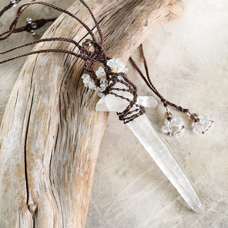 'Power of Healing' ~ crystal talisman with long Quartz point