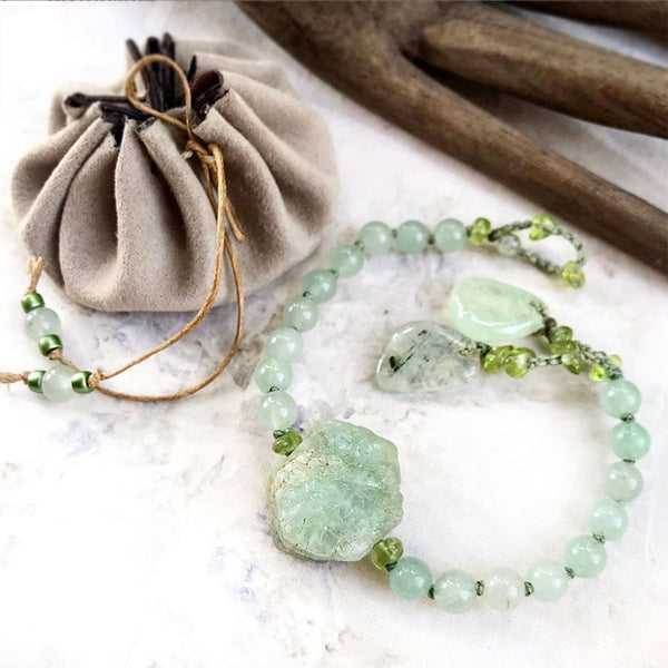 "Aventurine mala bracelet ~ for up to 6.5"" wrist"
