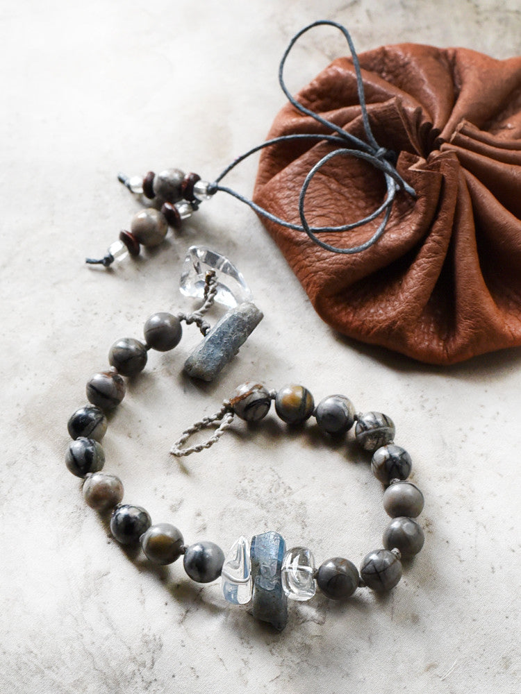 Mala bracelet with Picasso Jasper, blue Kyanite & clear Quartz ~ for up to 7