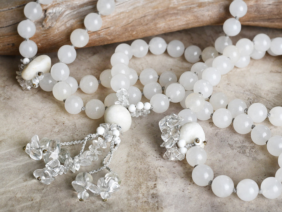 'White Tara' ~ large all-white mala with Agate, Quartz, Howlite & Shaman Dream Stone