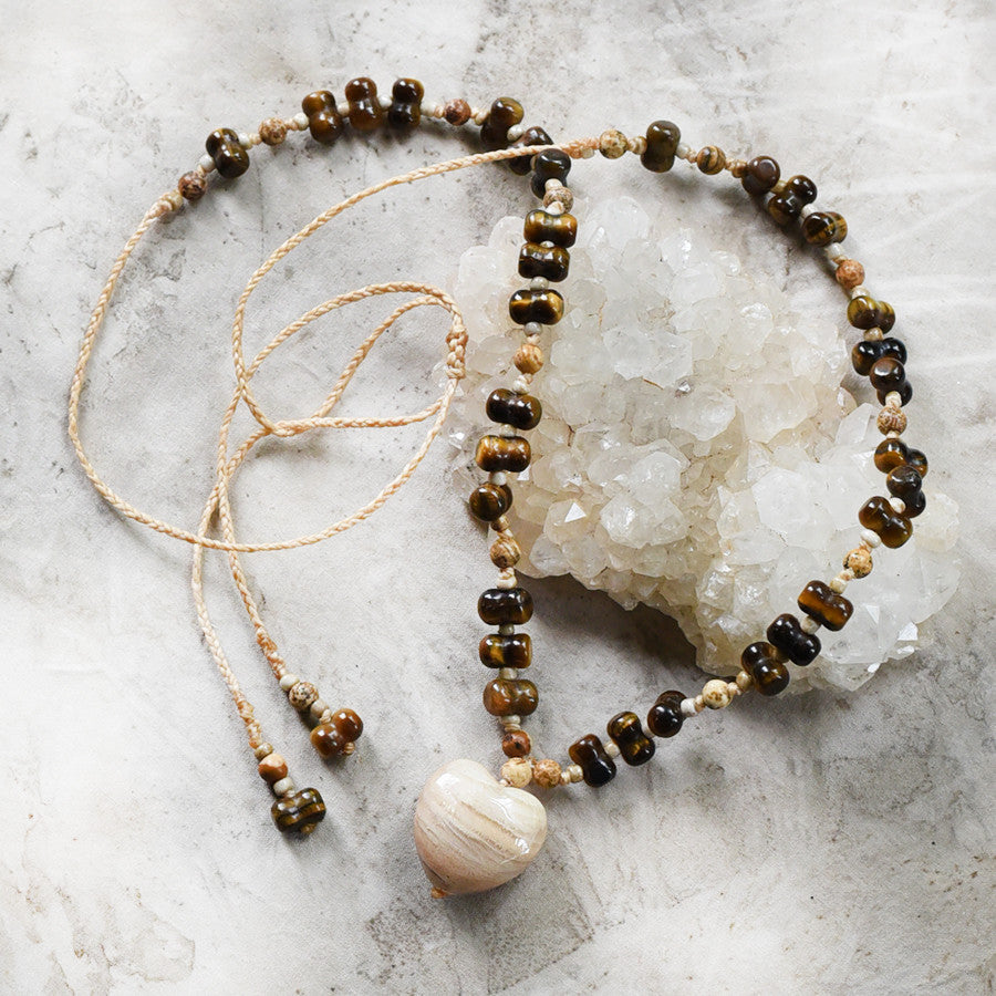 Crystal amulet with Moonstone heart, Tiger Eye & Picture Jasper