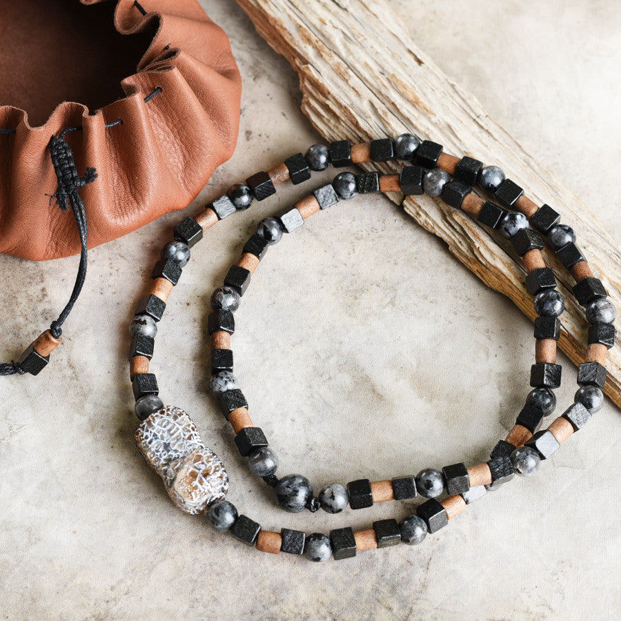Stone talisman for men ~ with weathered Agate, Larvikite & wooden beads