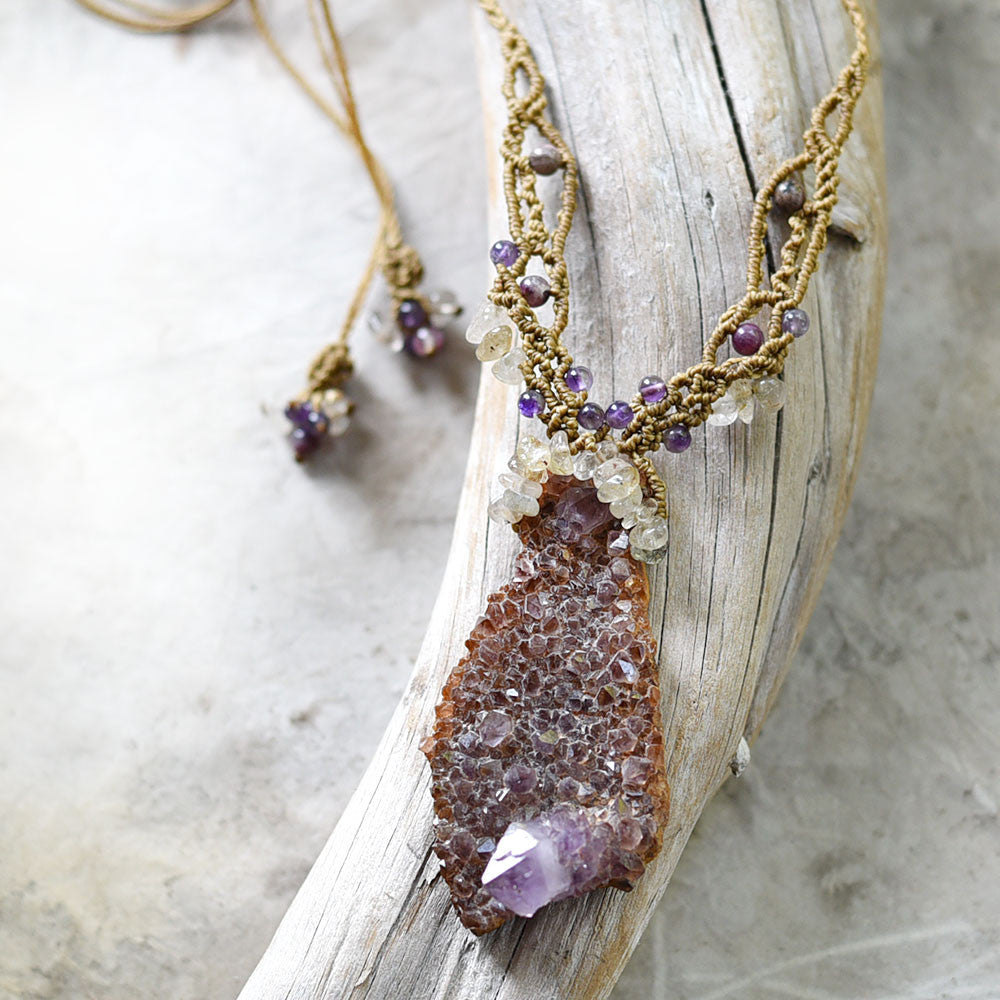 Amethyst Spirit Quartz crystal amulet with Gold Rutile Quartz & Tourmaline