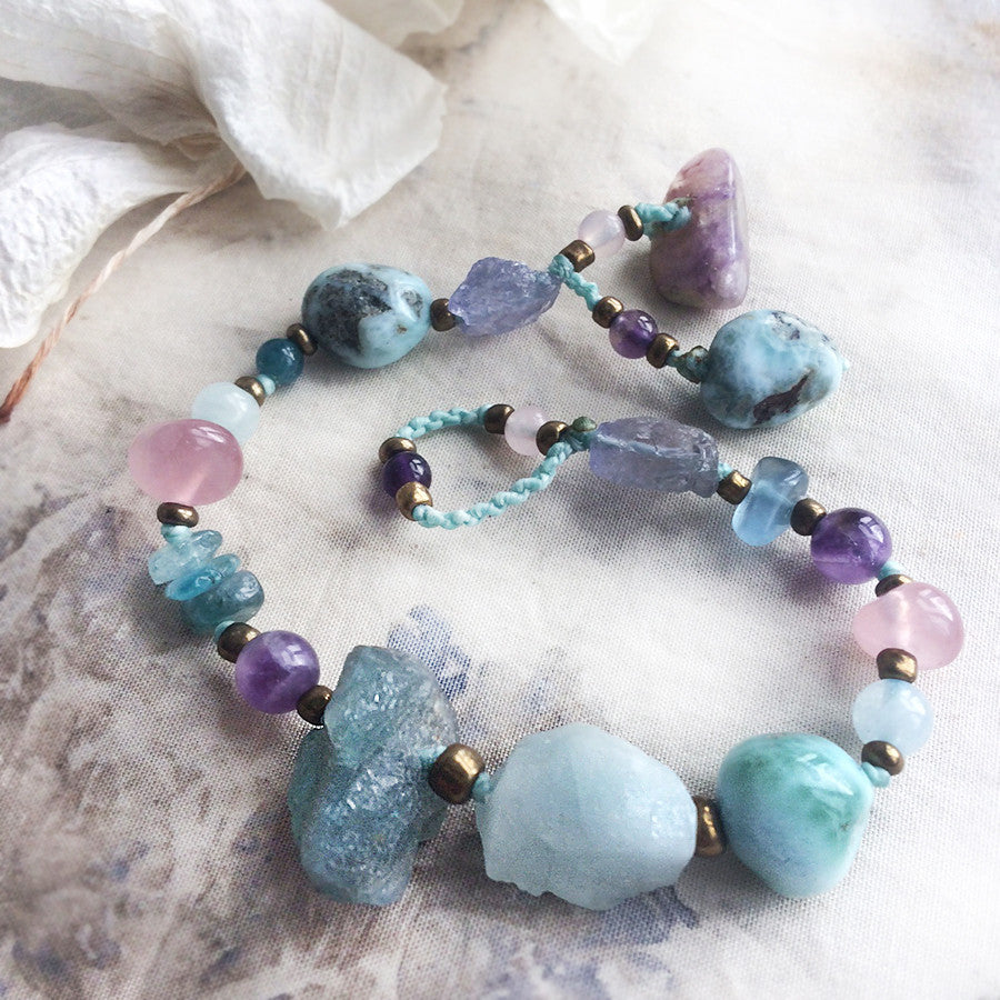 "Crystal healing bracelet in subtle pastel tones ~ for up to 6"" wrist"