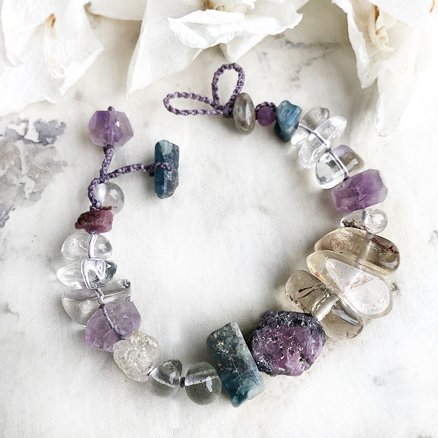 Crystal healing bracelet in pastel tones ~ for up to 6.5