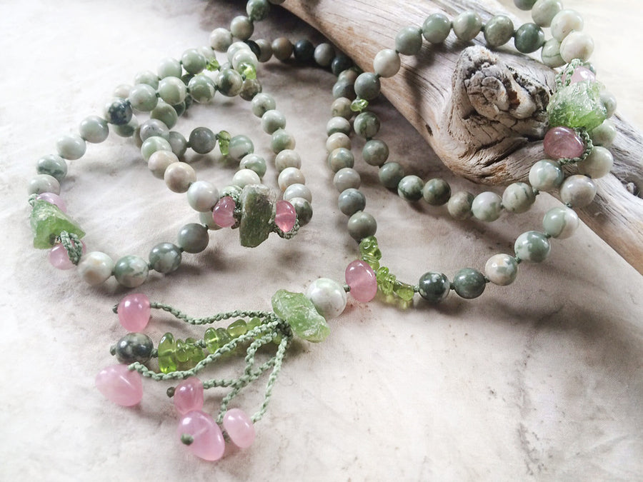 Peace Jade mala with Peridot & Madagascan Rose Quartz