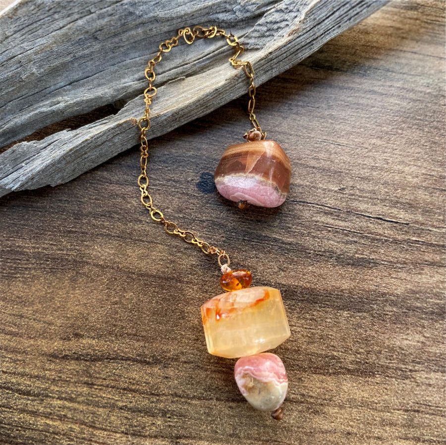Pendulum with Golden Healer Quartz, Amber & Rhodochrosite