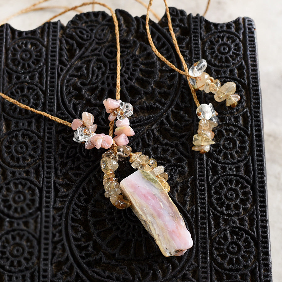 'Gentle Heart' ~ crystal healing amulet with Peruvian Pink Opal, Gold Rutile Quartz & clear Quartz