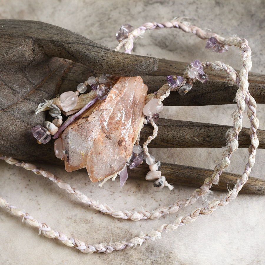'Twinned Spirit' ~ Phantom Quartz stone talisman with Rose Quartz, Amethyst & Zebra Jasper