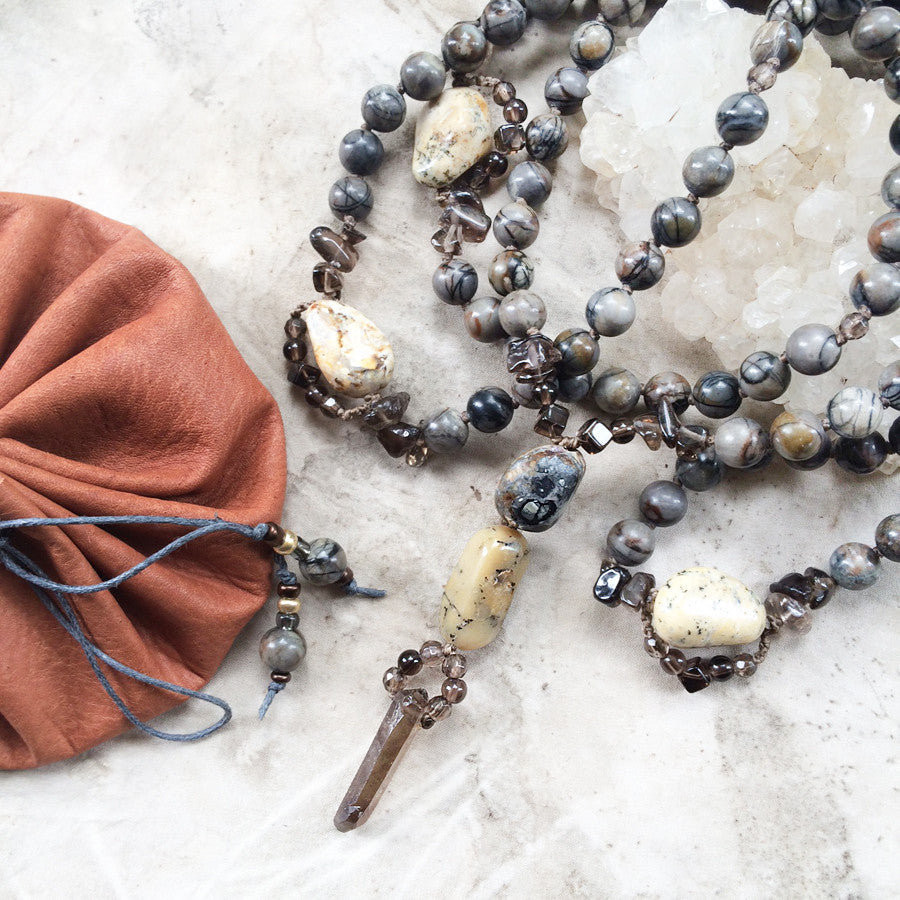Picasso Jasper mala with Merlinite & Smokey Quartz