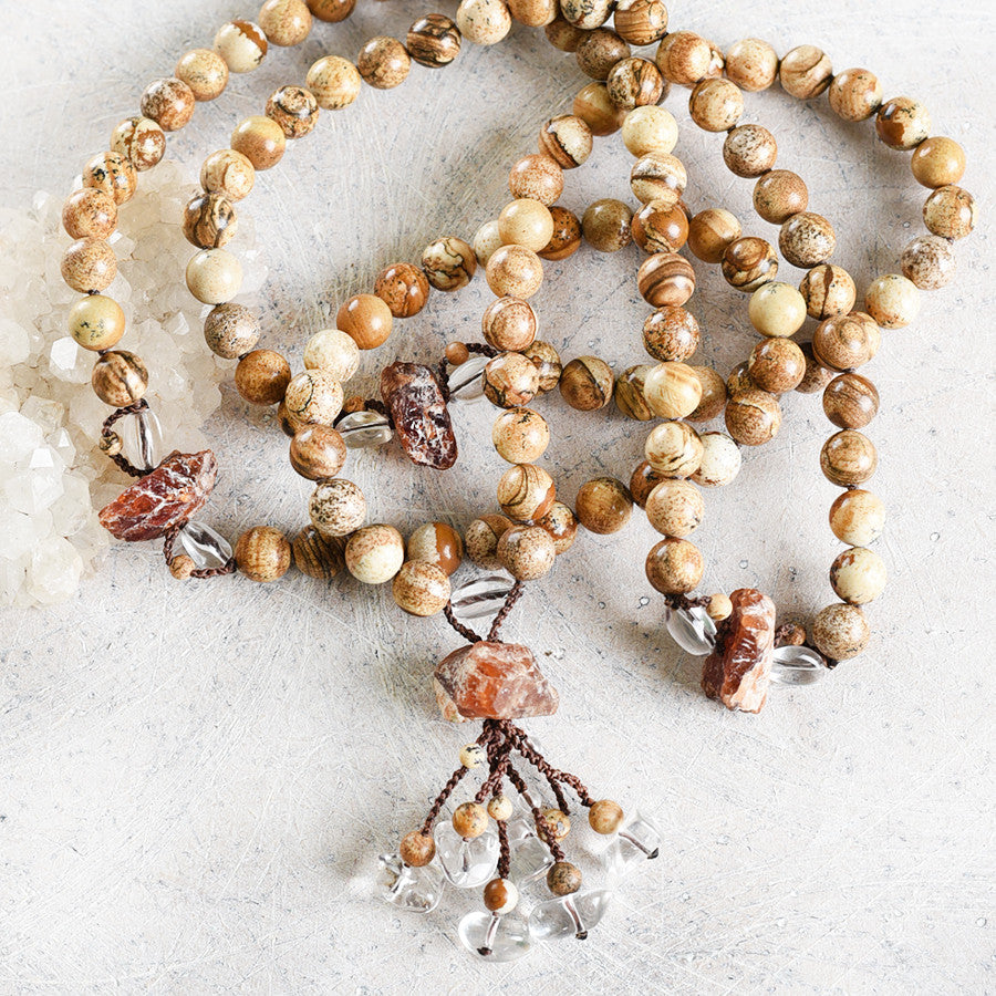 Picture Jasper mala with Spessartine Garnet & clear Quartz
