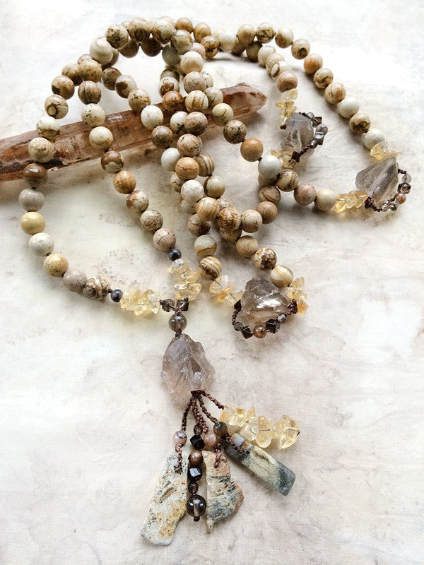 PICTURE JASPER MALA BEADS WITH SMOKEY QUARTZ, CITRINE, CHIASTOLITE & SILVER LEAF JASPER