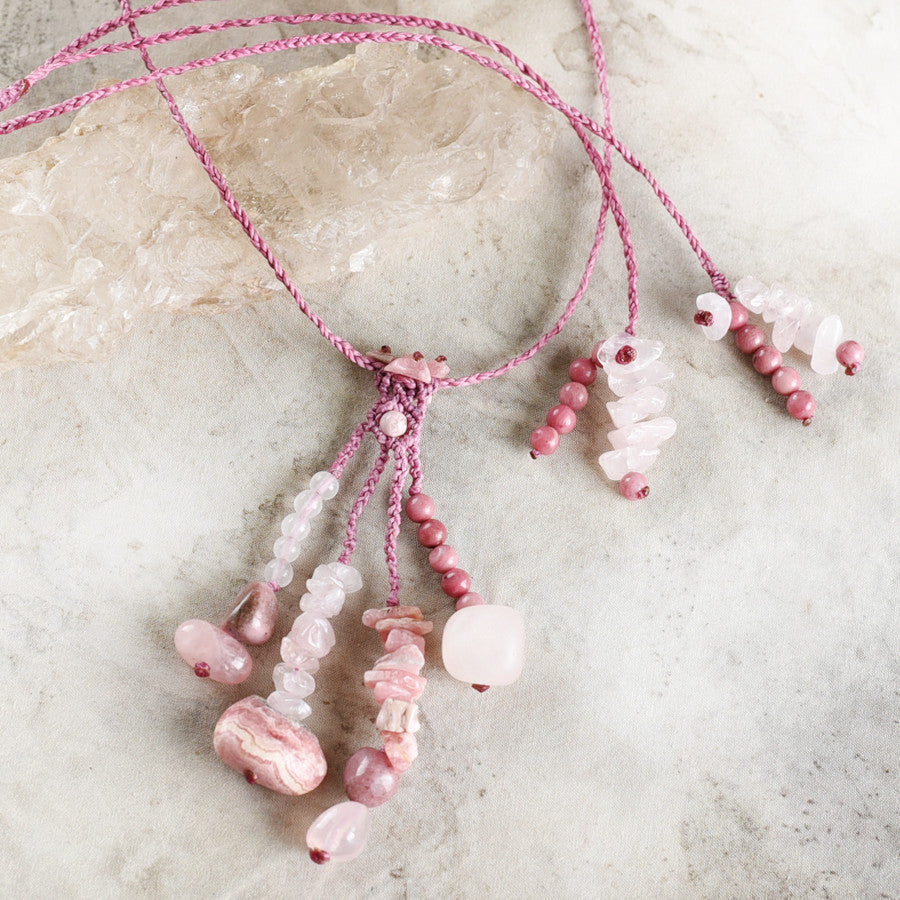'Heartfelt' ~ crystal amulet with Rose Quartz, Rhodochrosite & Rhodonite