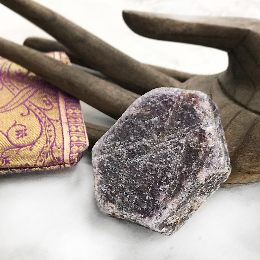 Ruby ~ raw, natural (in purple silk pouch)
