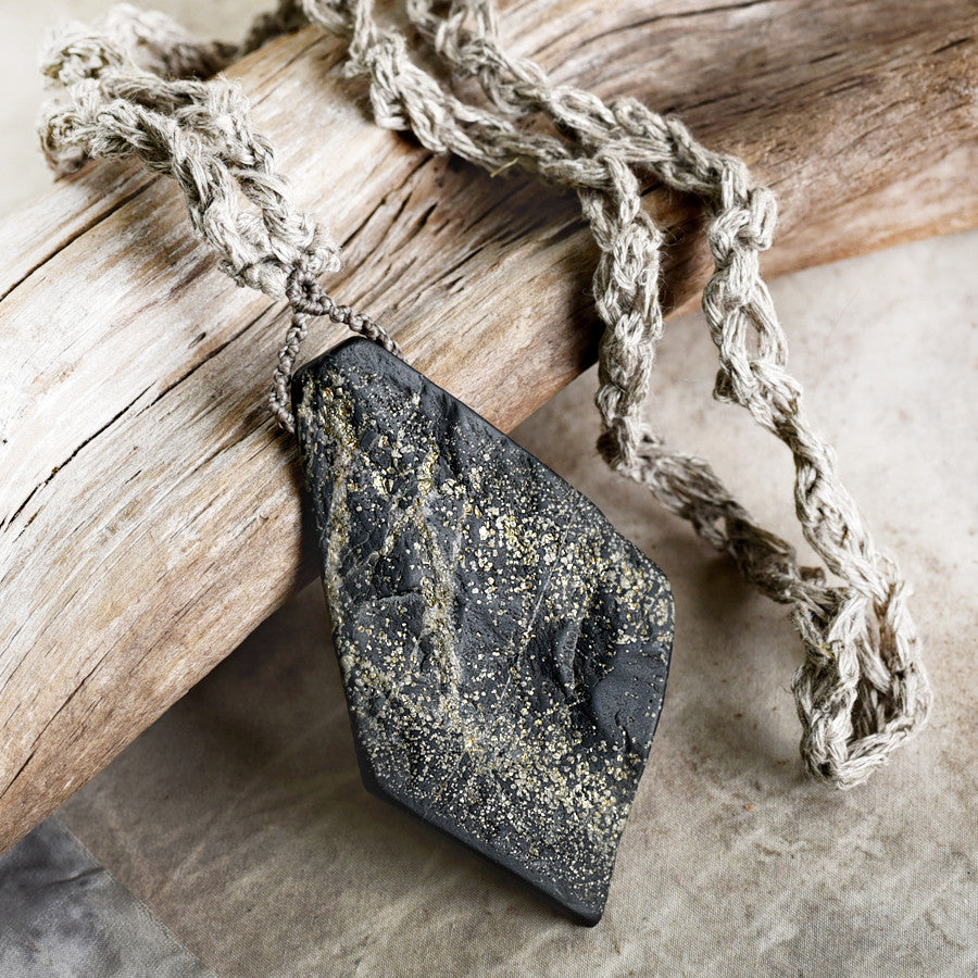 'Galaxy Connection' ~ stone talisman with Pyrite included Slate in organic linen braid