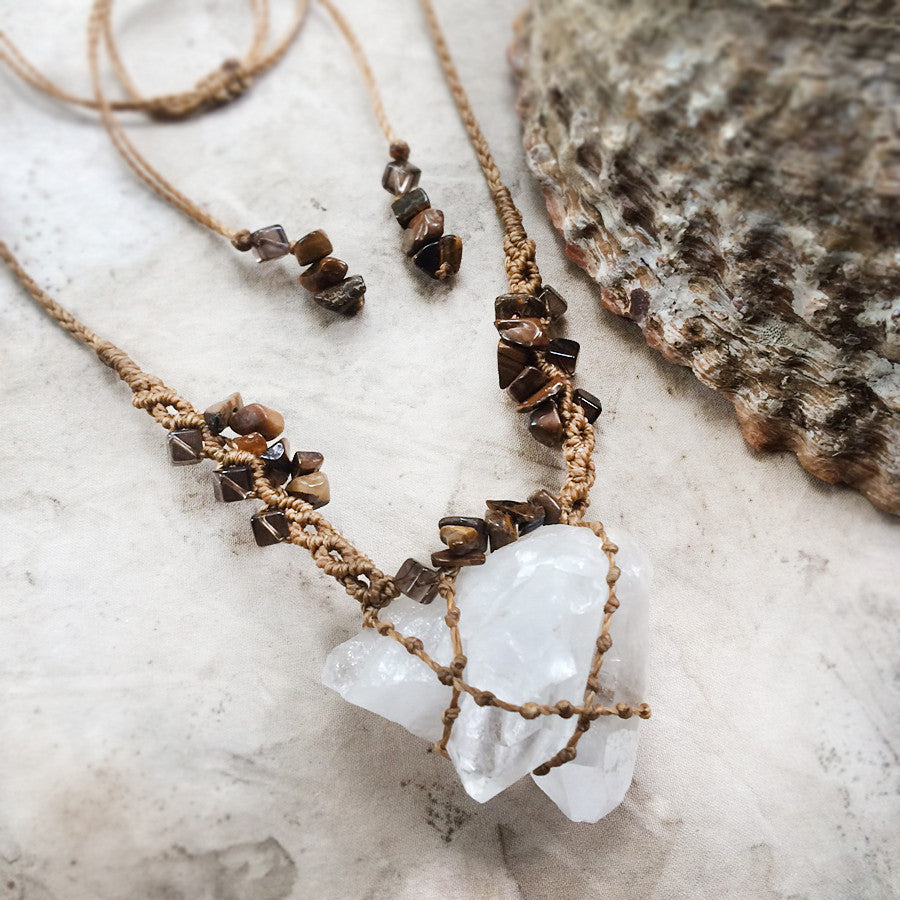 'Serene Healer' ~ Quartz cluster crystal amulet with Smokey Quartz & Tiger Eye
