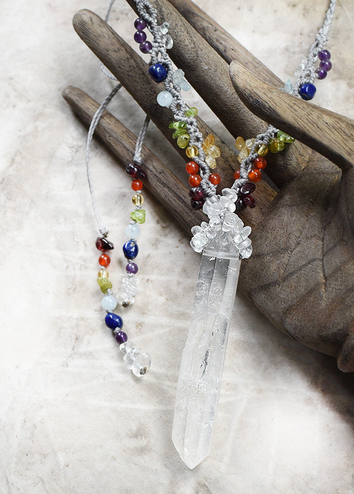 'Aurora Light Guardian' ~ Quartz point amulet necklace with chakra crystal highlights