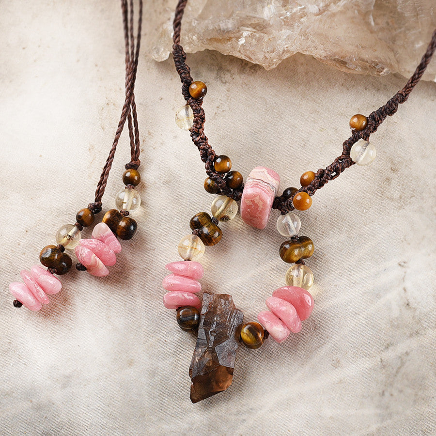Crystal healing amulet with Citrine, Rhodochrosite & Tiger Eye